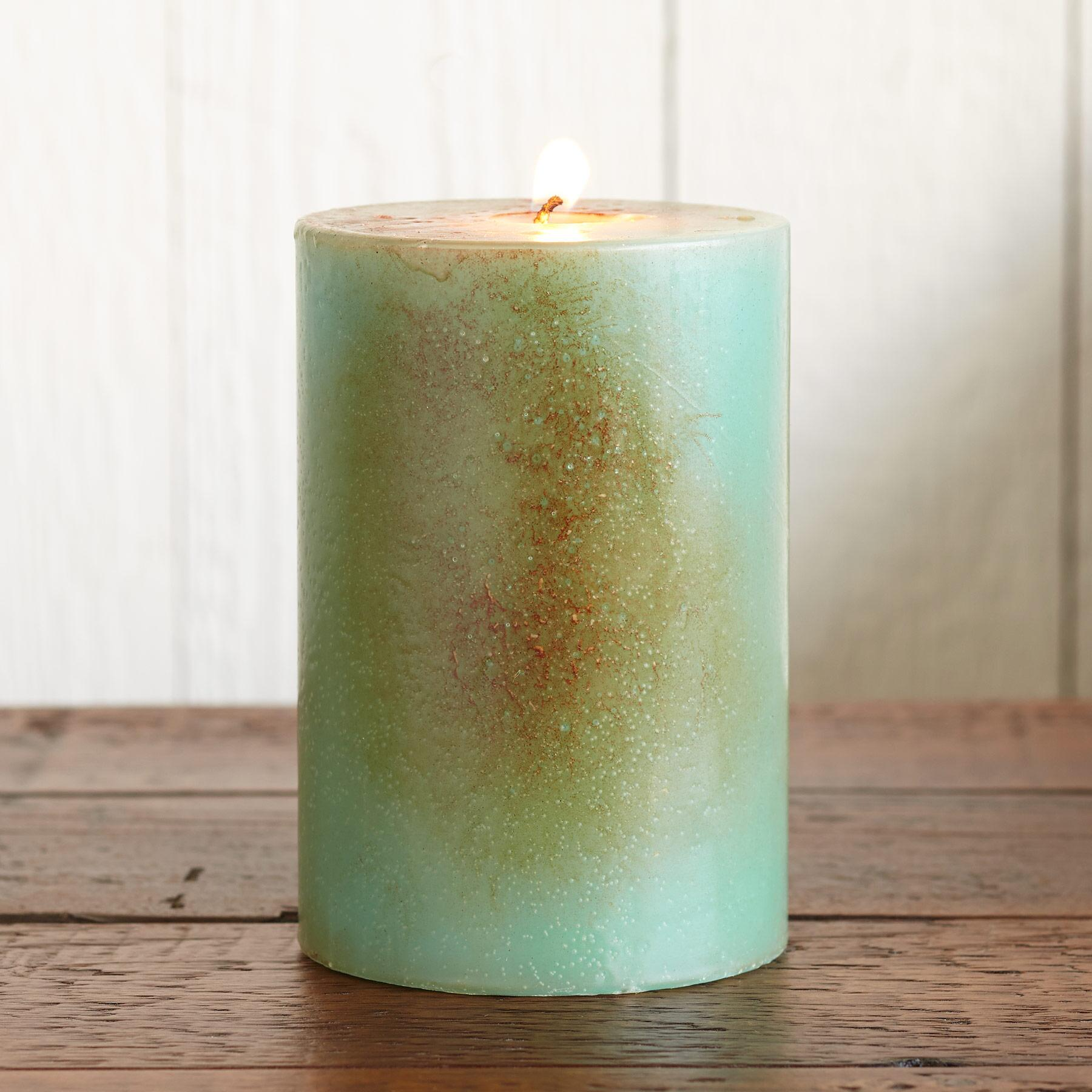 AQUA ANTIGUA PILLAR CANDLE: View 2