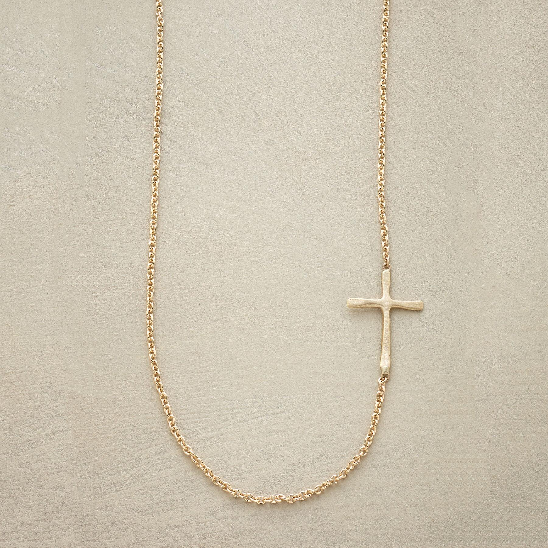 GOLD LINKED CROSS NECKLACE: View 1