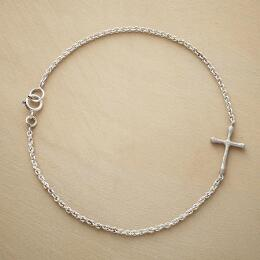 STERLING SILVER LINKED CROSS BRACELET