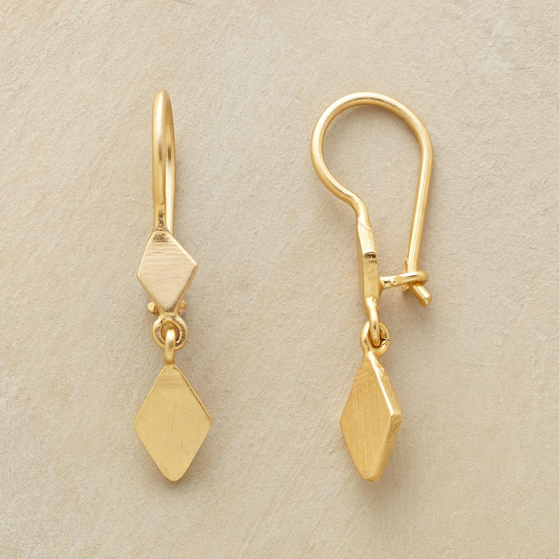 GOLD PLATED DIAMOND DUO EARRINGS: View 1
