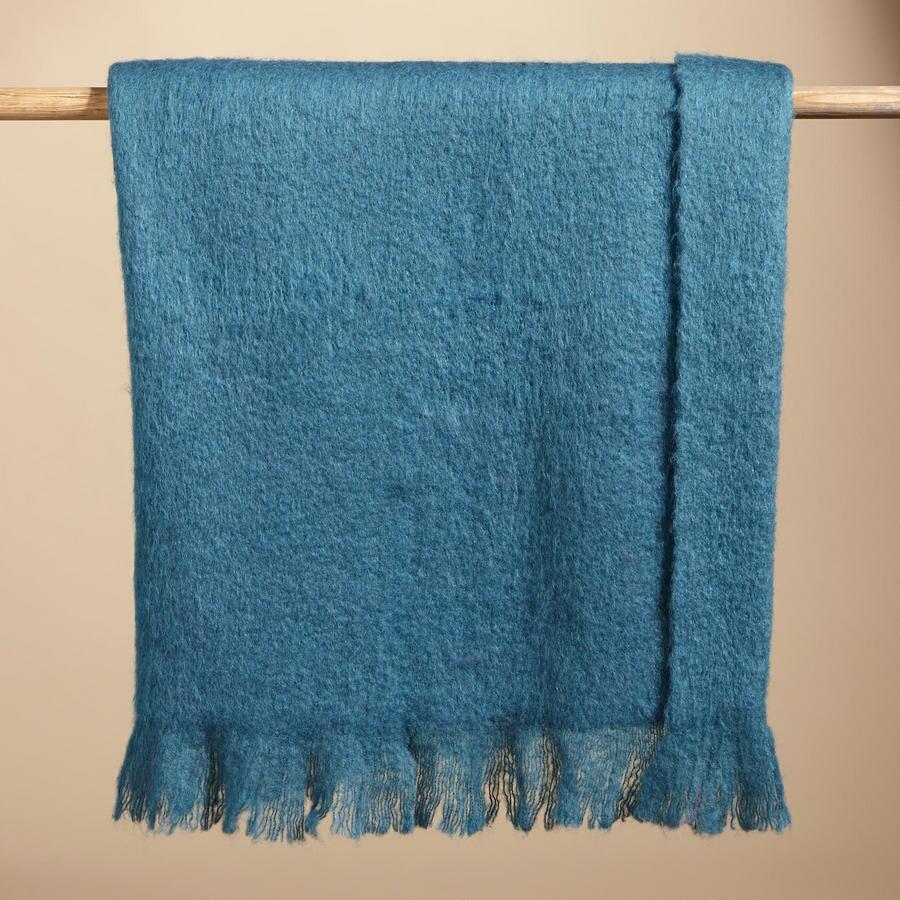HELENA BLUE MOHAIR THROW