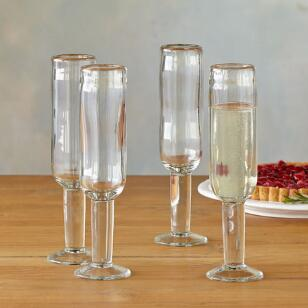 DARBY CHAMPAGNE FLUTES, SET OF 4