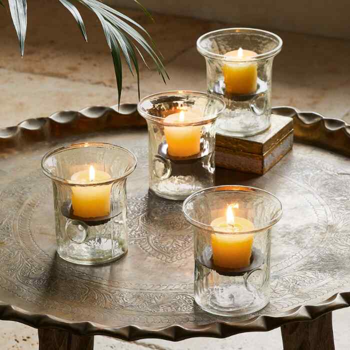BLOWN GLASS TABLETOP HURRICANES, SET OF 4