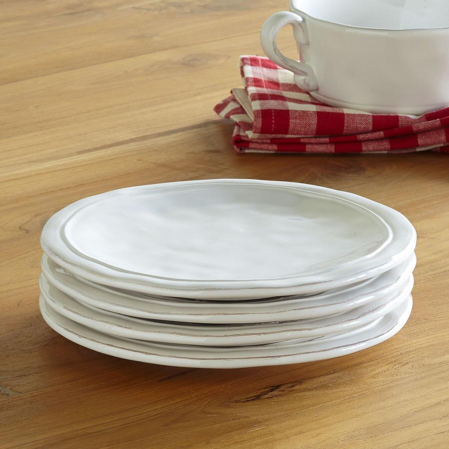 WHITEWASHED DESSERT PLATES S/4