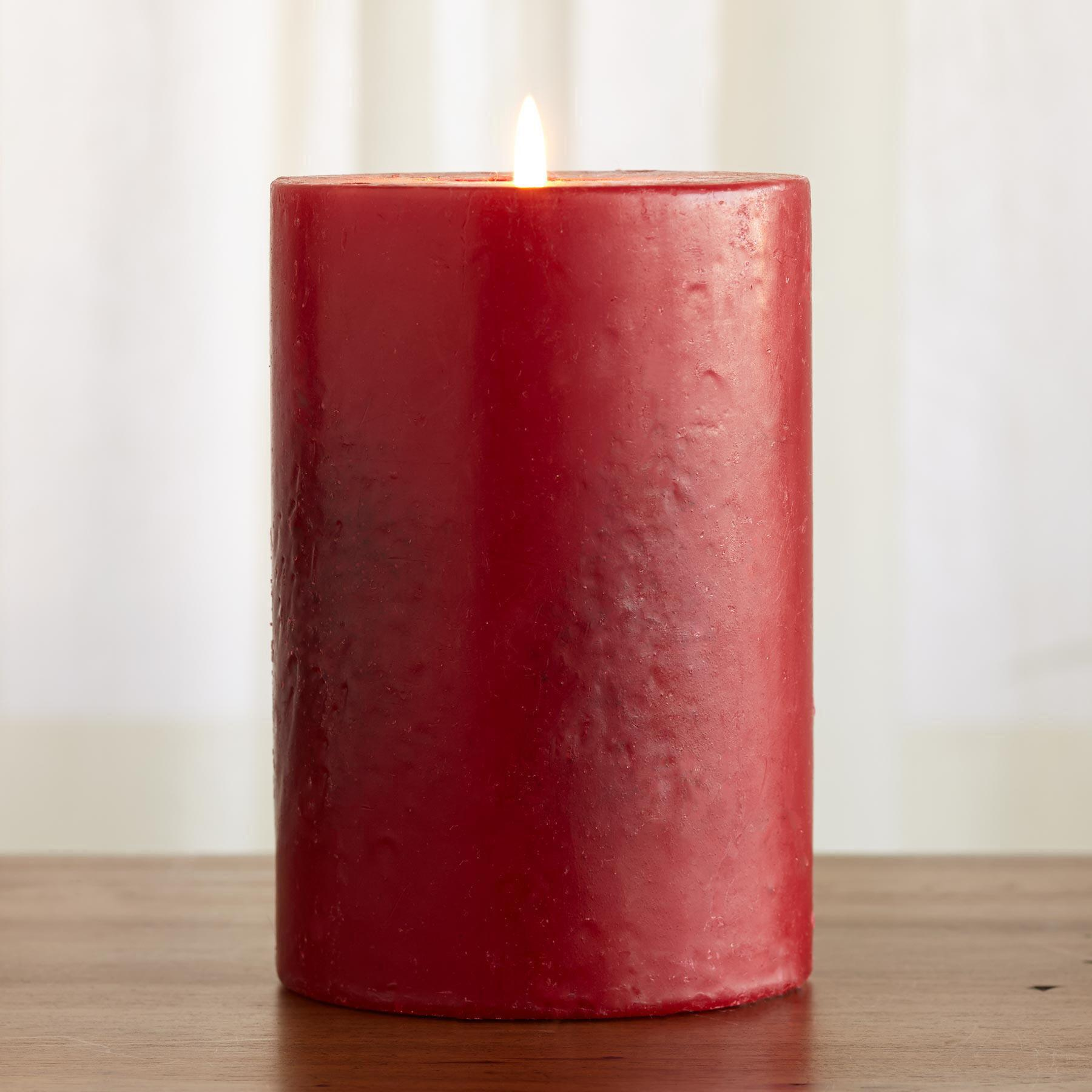 RED ANTIQUE PILLAR CANDLE: View 1