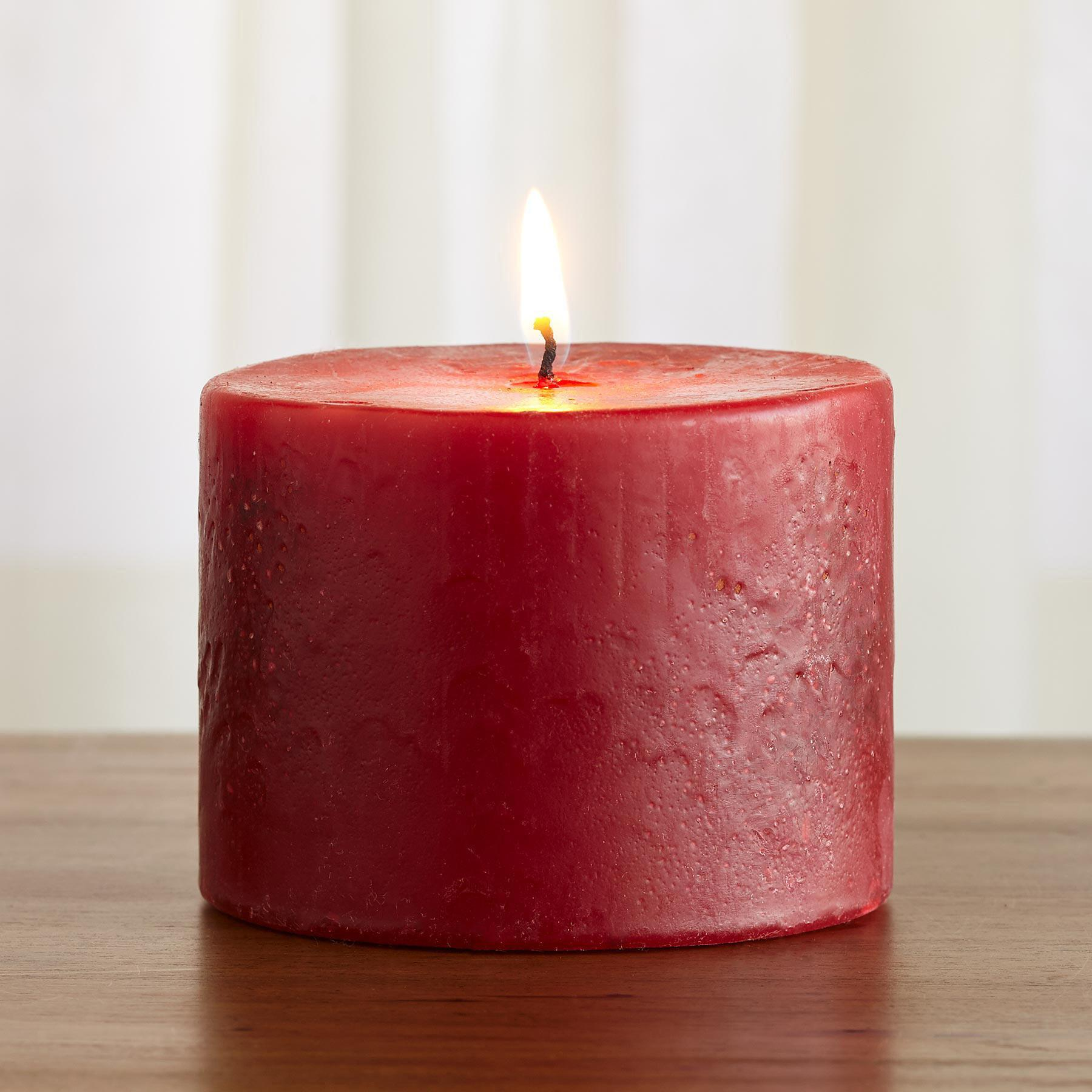 RED ANTIQUE PILLAR CANDLE: View 2