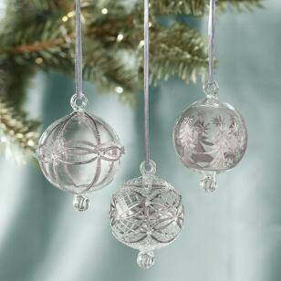 BRILLIANT GLASS ORBS, SET OF 3