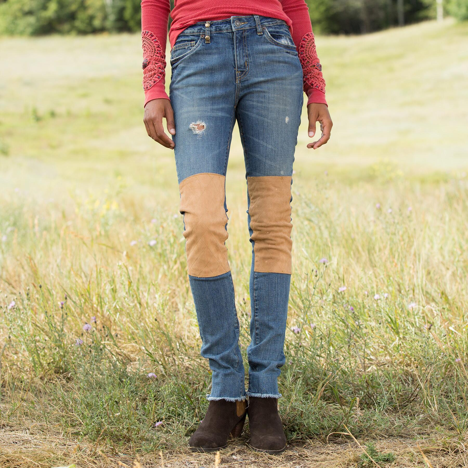 SUEDE PATCH JEANS: View 1