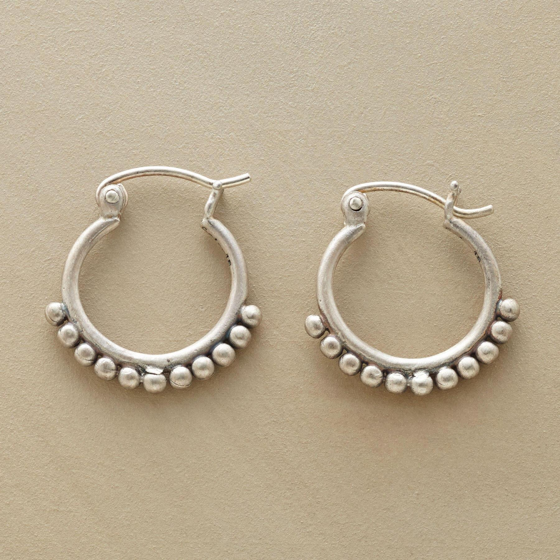 SILVER BEAD HOOP EARRINGS: View 1