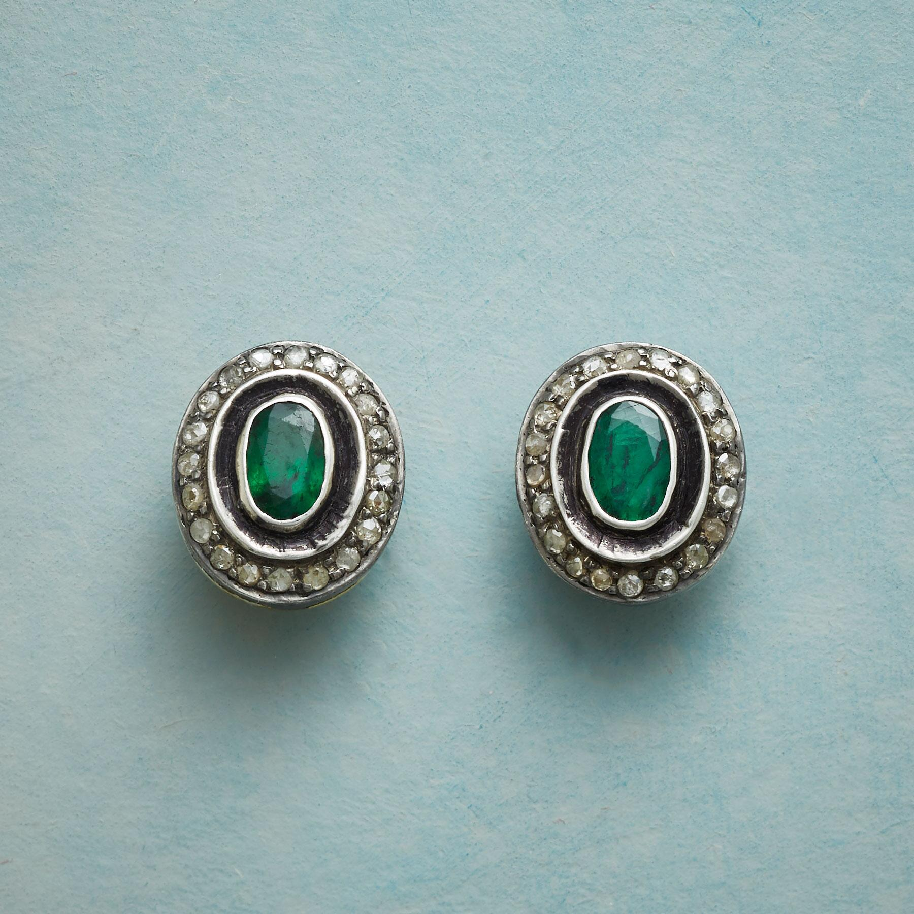 FLOATING EMERALD EARRINGS: View 1