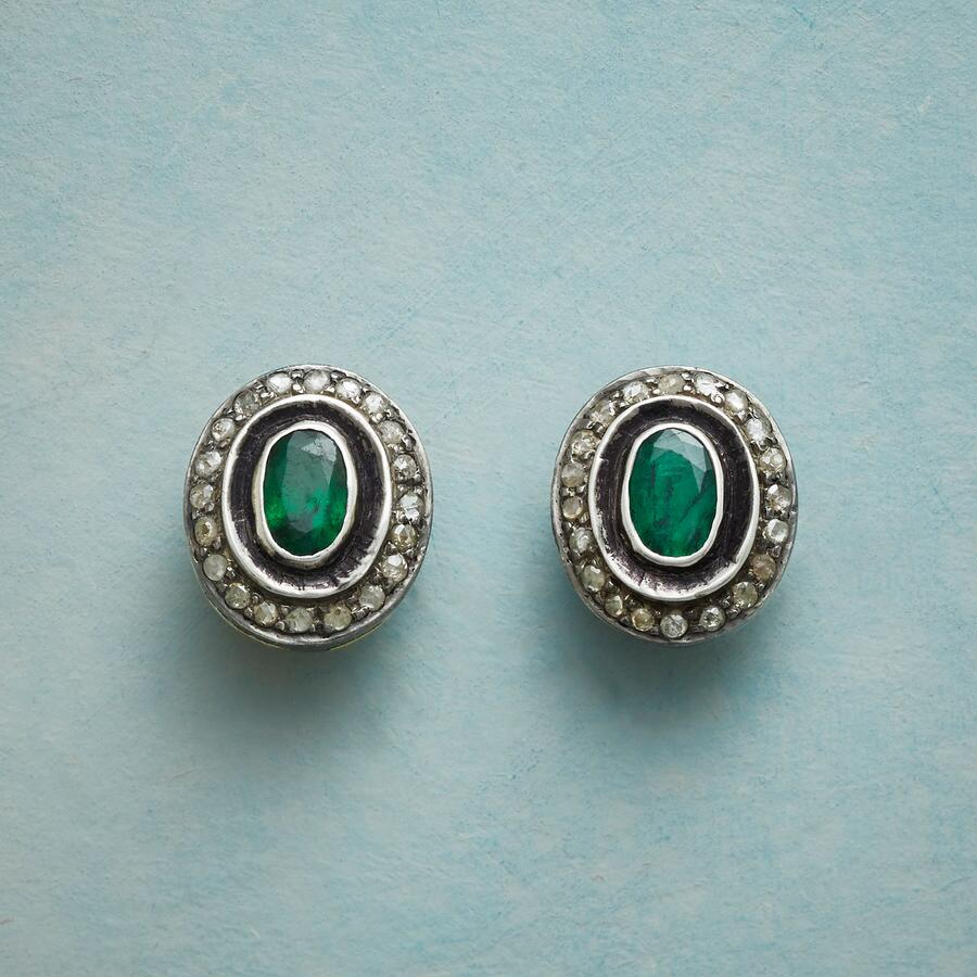 FLOATING EMERALD EARRINGS