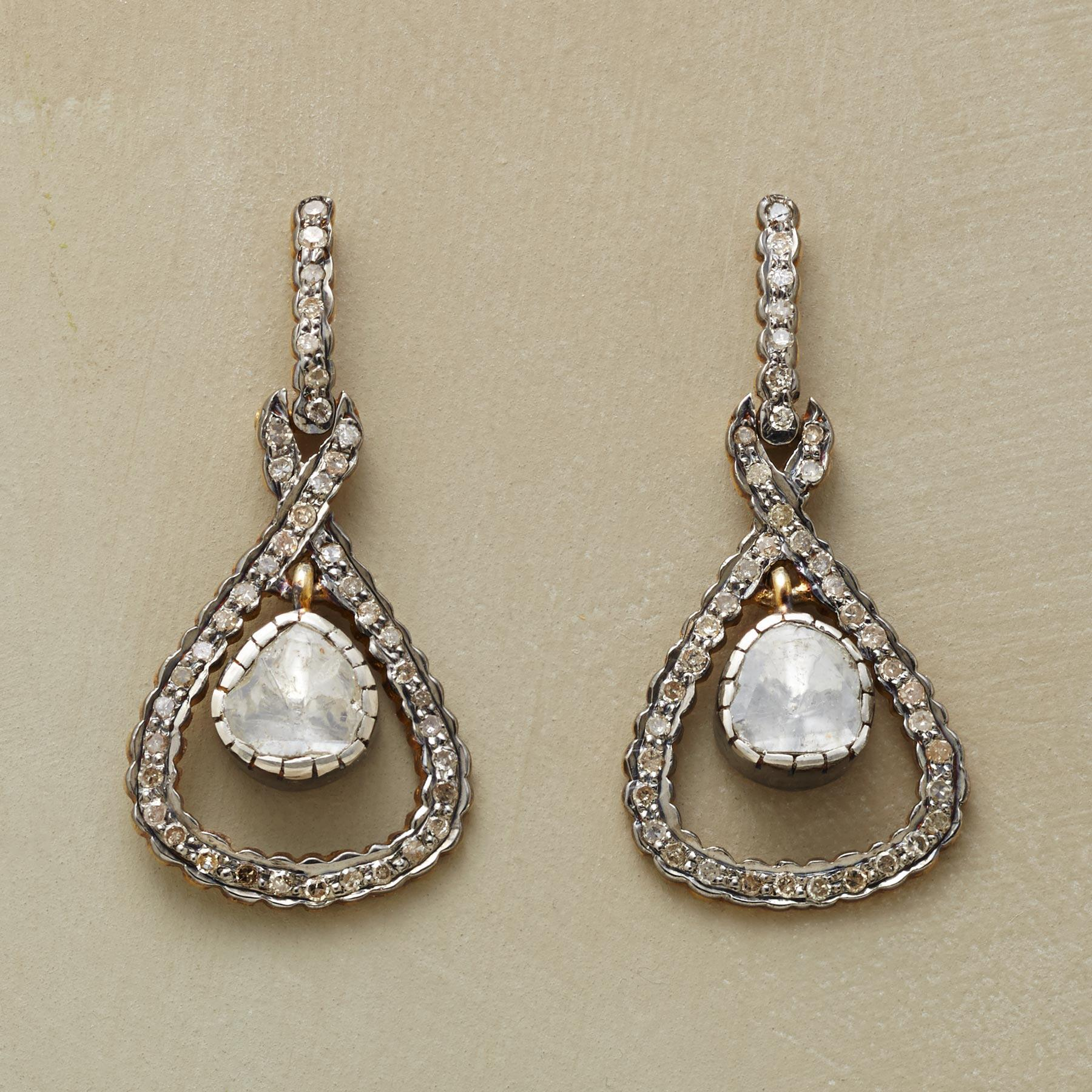DIAMOND HALF-SHELL EARRINGS: View 1