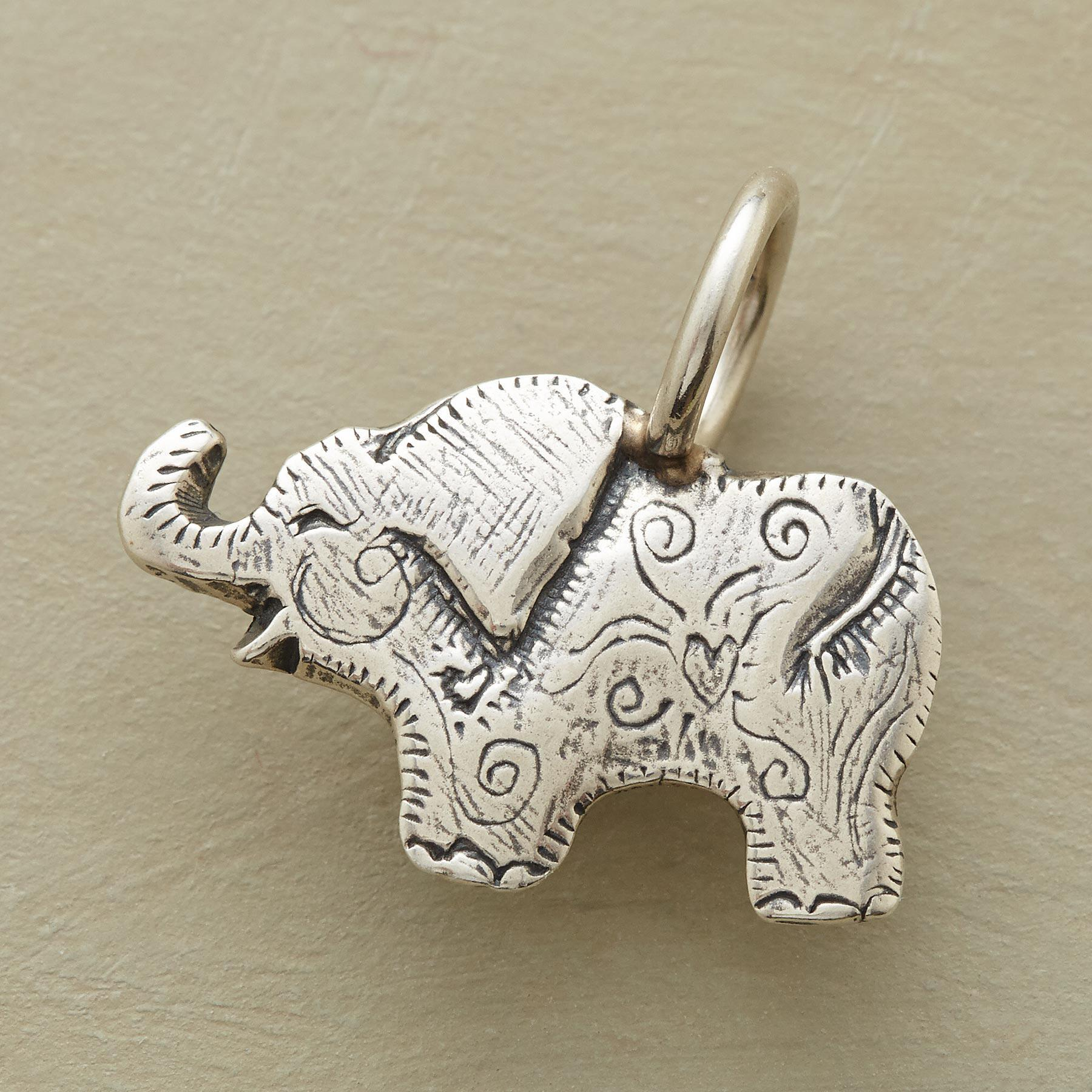 STERLING SILVER ELEPHANT CHARM: View 1