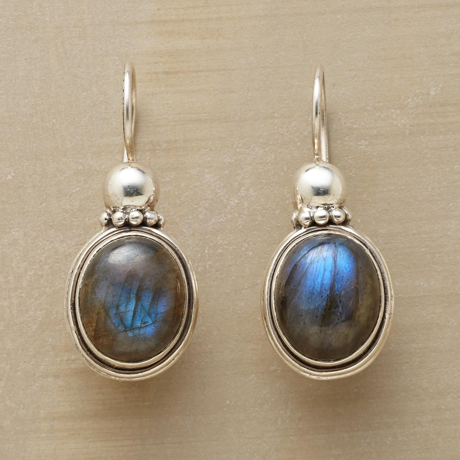 CROWNED LABRADORITE EARRINGS: View 1