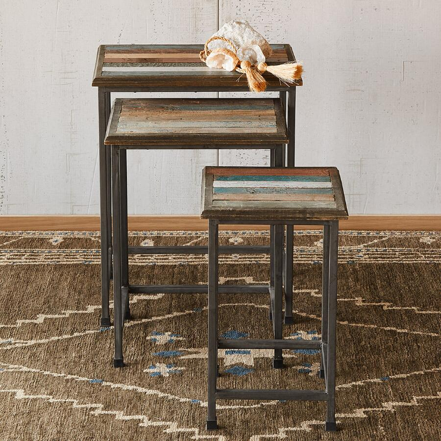 RUSTICO NESTING SIDE TABLES, SET OF 3
