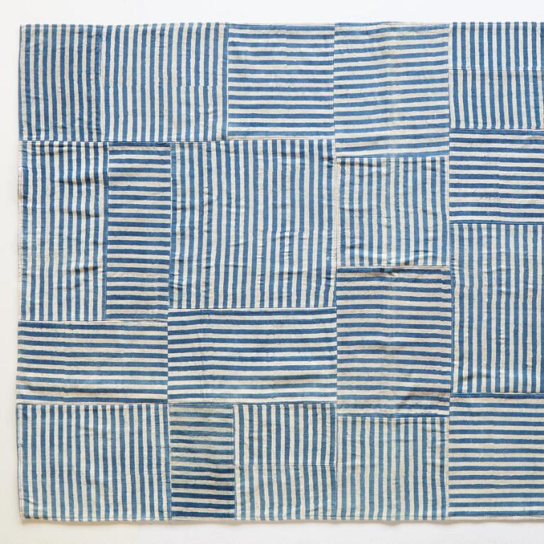 BLUE LINES STRIPED RUG