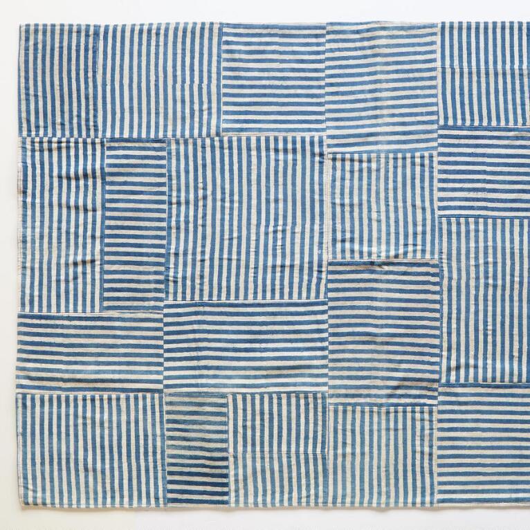 BLUE LINES STRIPED RUG 8X10