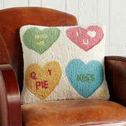 VALENTINE CANDY HEARTS PILLOW