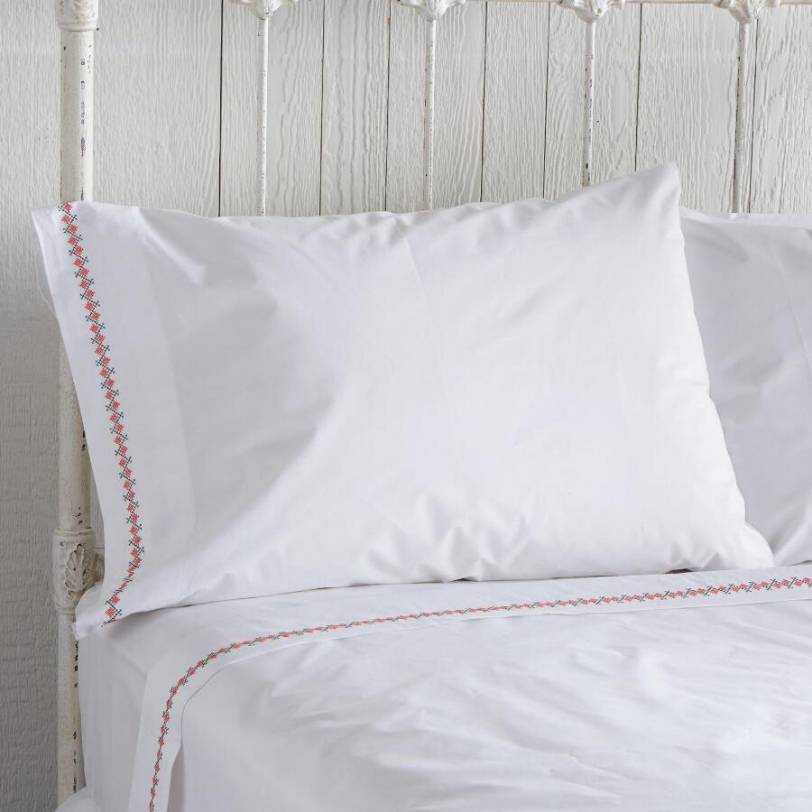 EMILY CROSS STITCH PILLOWCASES S/2