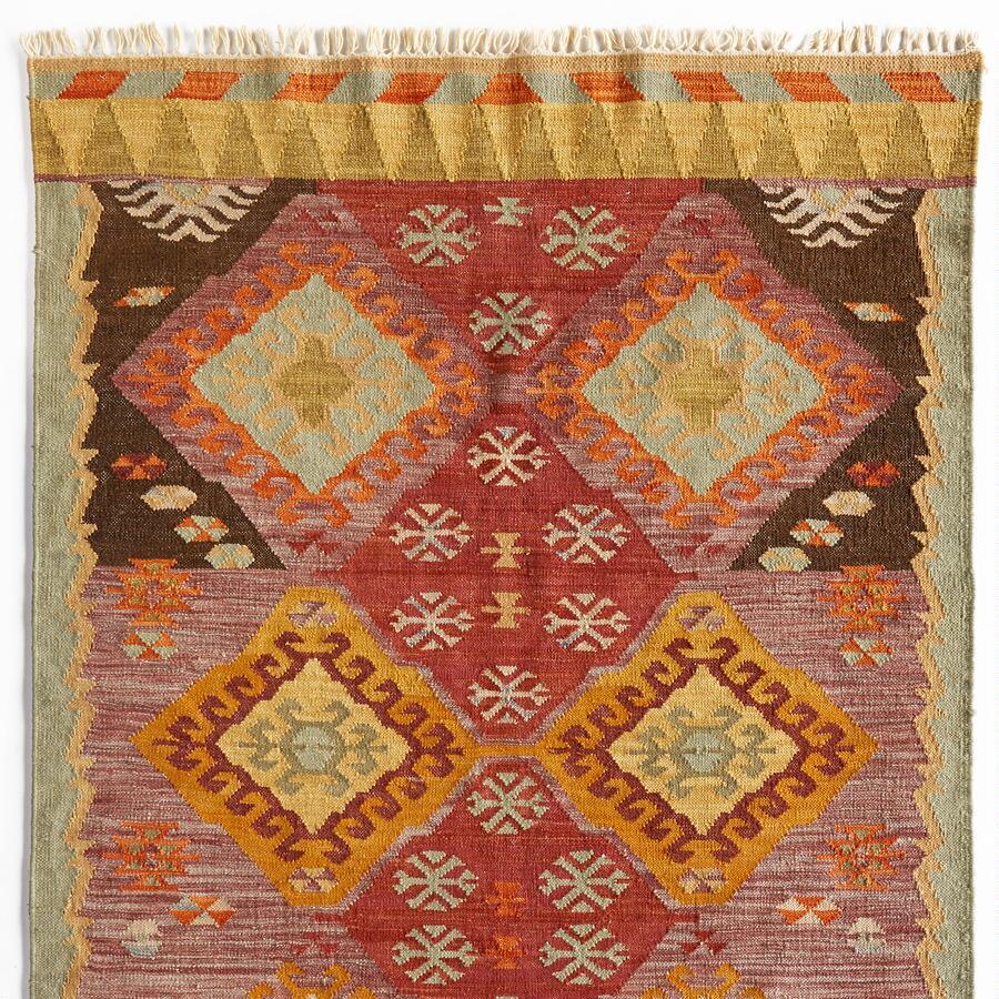 Handmade Colorful Diamond Dhurrie Rug
