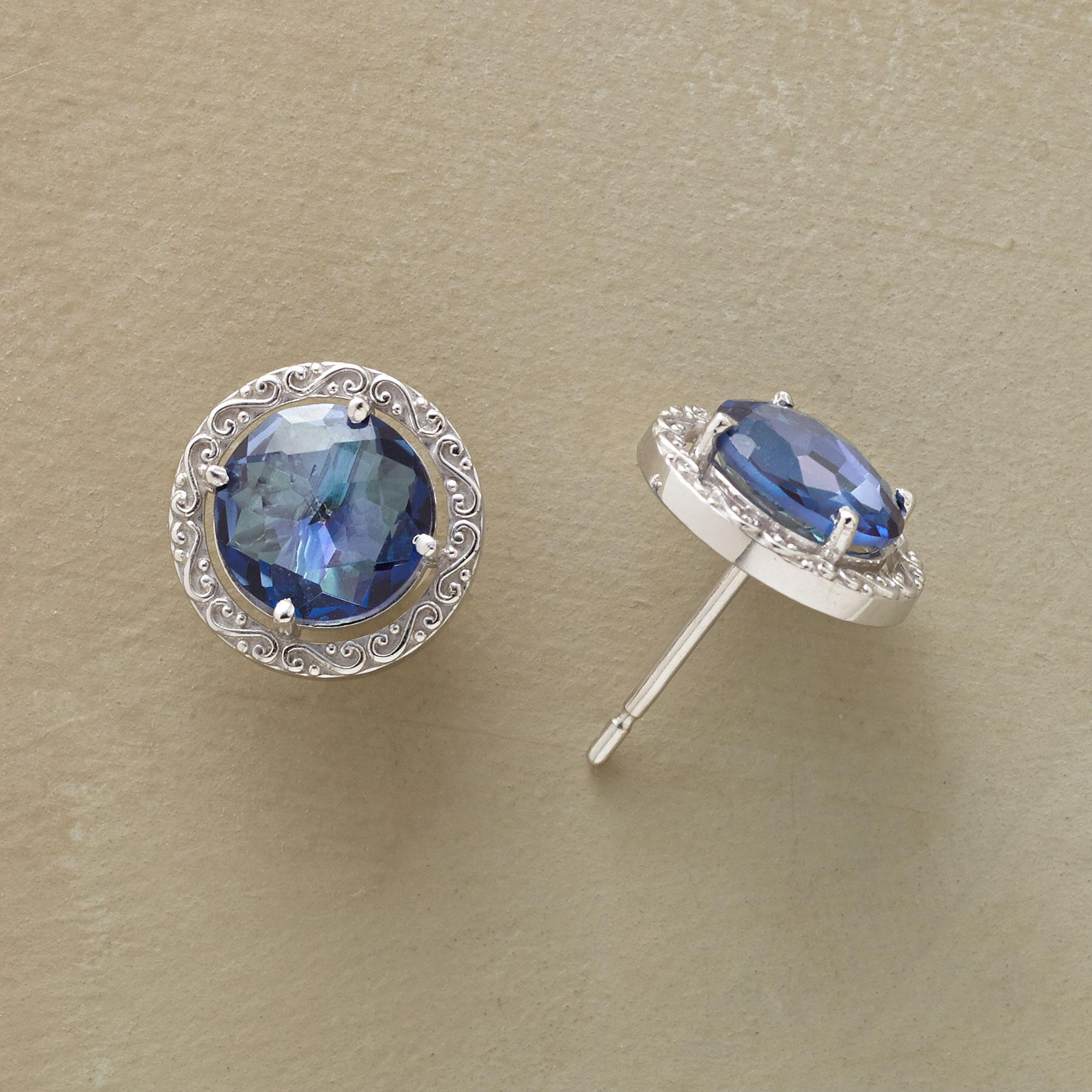 WREATHED BLUE TOPAZ EARRINGS: View 1