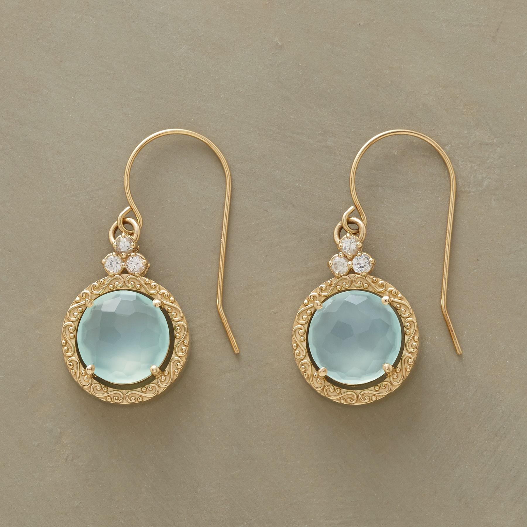 SCROLLED CHALCEDONY EARRINGS: View 1