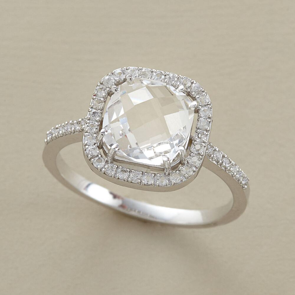 Harlequin White Topaz Ring