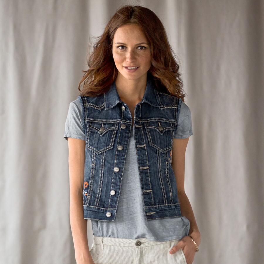 BLOOMING EAGLE DENIM VEST BY DRIFTWOOD