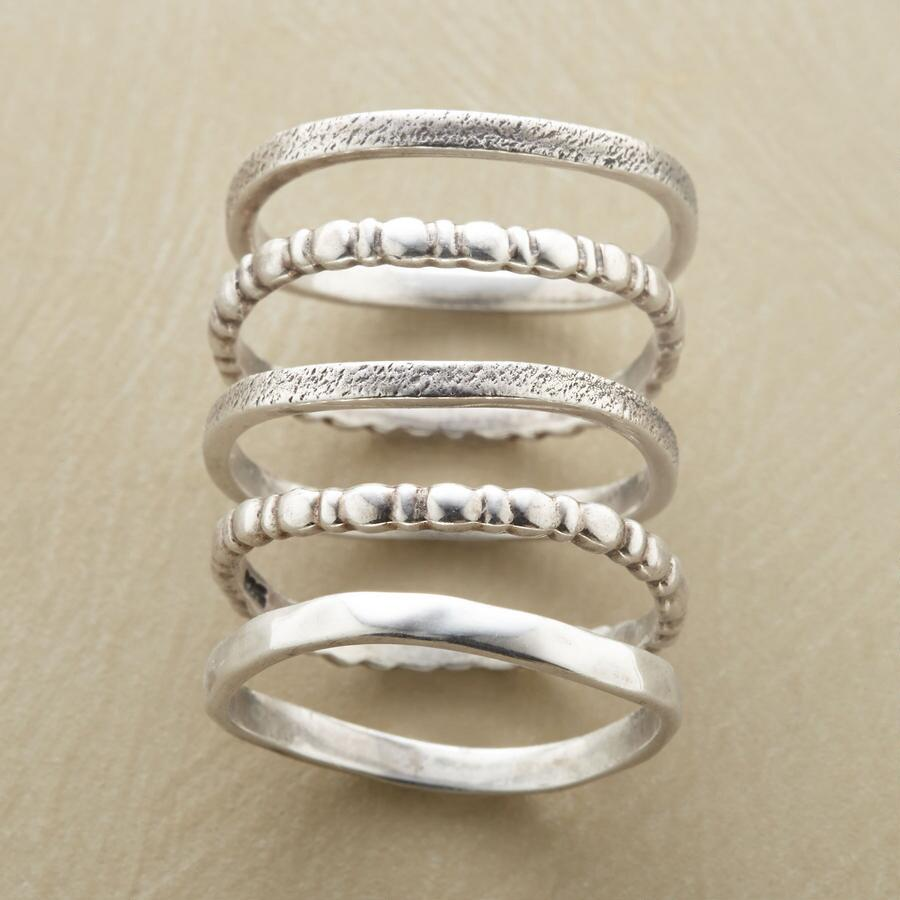SILVER TIDE RING SET S/5
