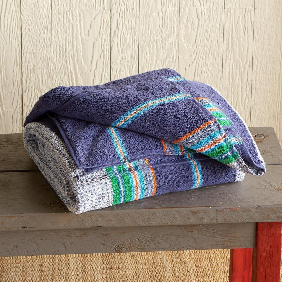 BLUE STRIPE DOUBLE-WIDE BEACH TOWEL
