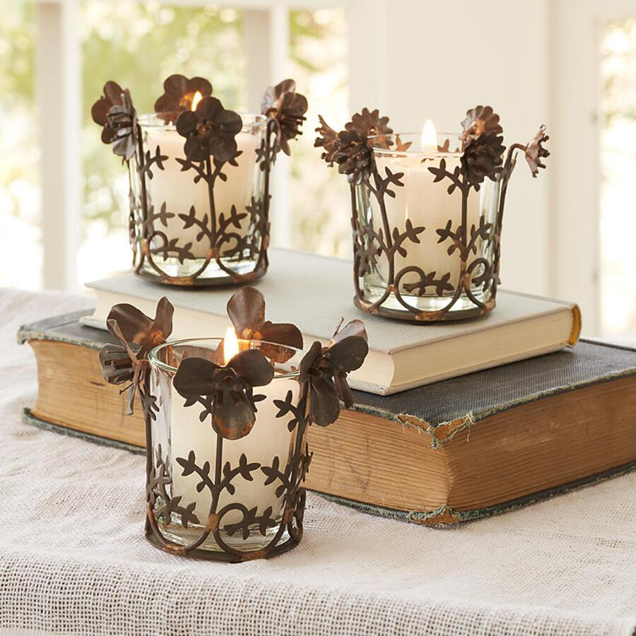 SHADOW FLOWER VOTIVES S/3