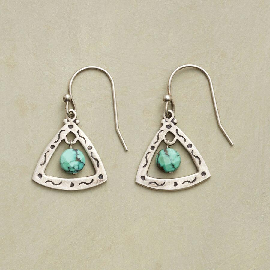 TURQUOISE TRILLION EARRINGS
