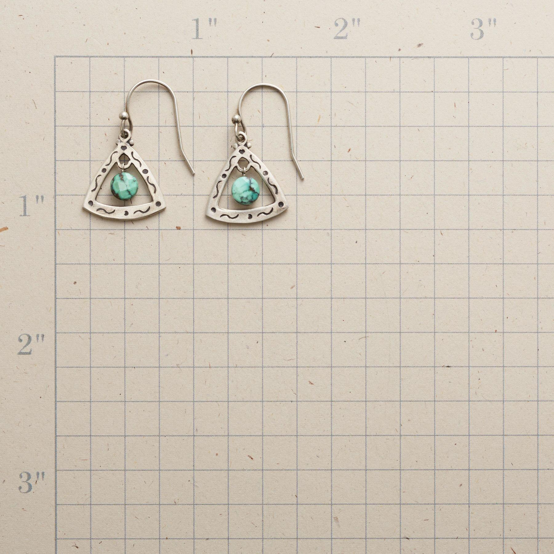 TURQUOISE TRILLION EARRINGS: View 2