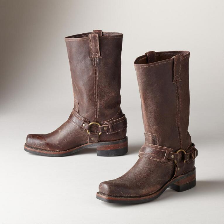 Western Belted Harness Boots