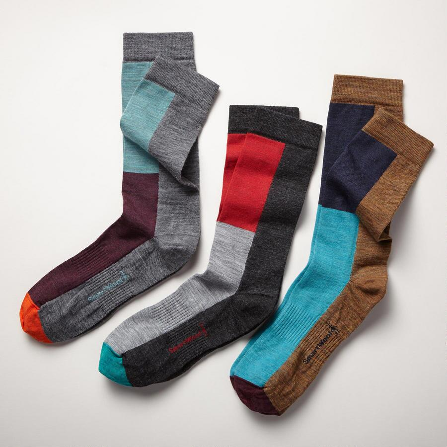 IN STEP COLORBLOCK SOCKS, SET OF 3