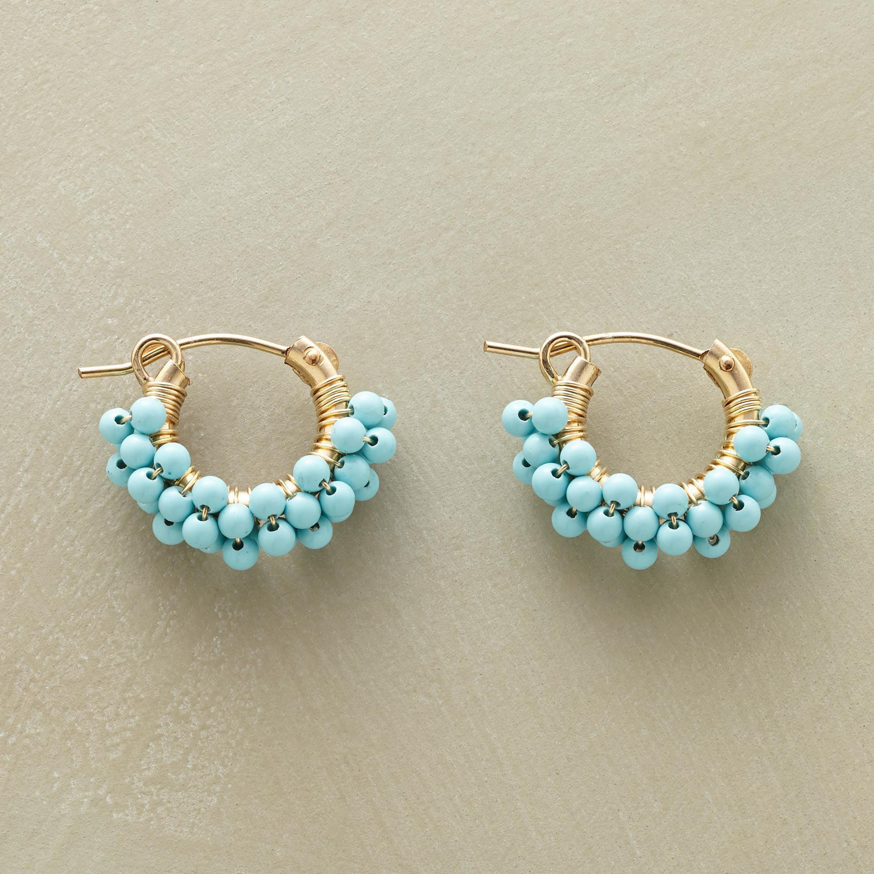TURQUOISE BUBBLE HOOP EARRINGS: View 1