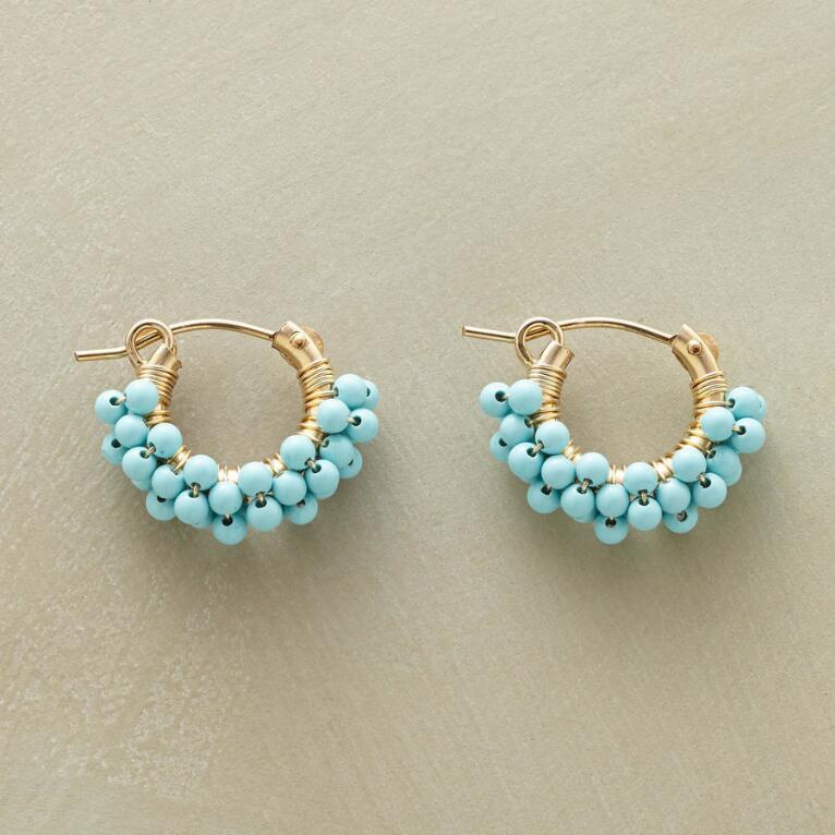 TURQUOISE BUBBLE HOOP EARRINGS