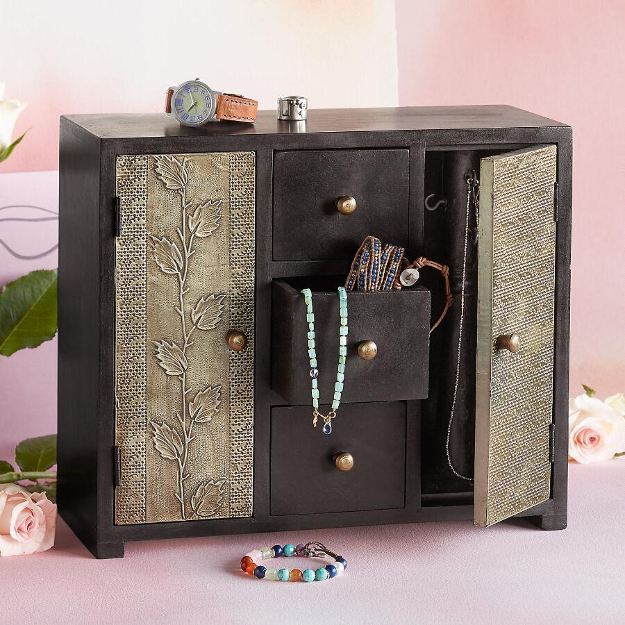 STAMPED TIN JEWELRY BOX