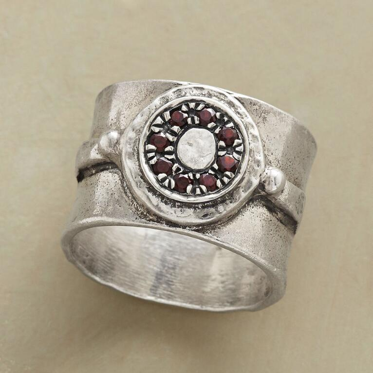 GARNET MANDALA RING