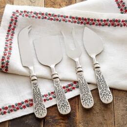 FLEUR DE LYS CHEESE KNIFE SET, 4-PIECE SET