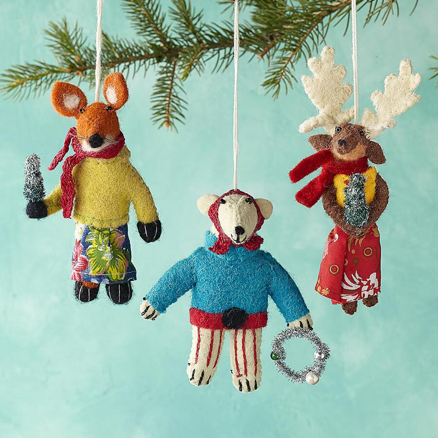 GLEEFUL GROUP ORNAMENTS, SET OF 3
