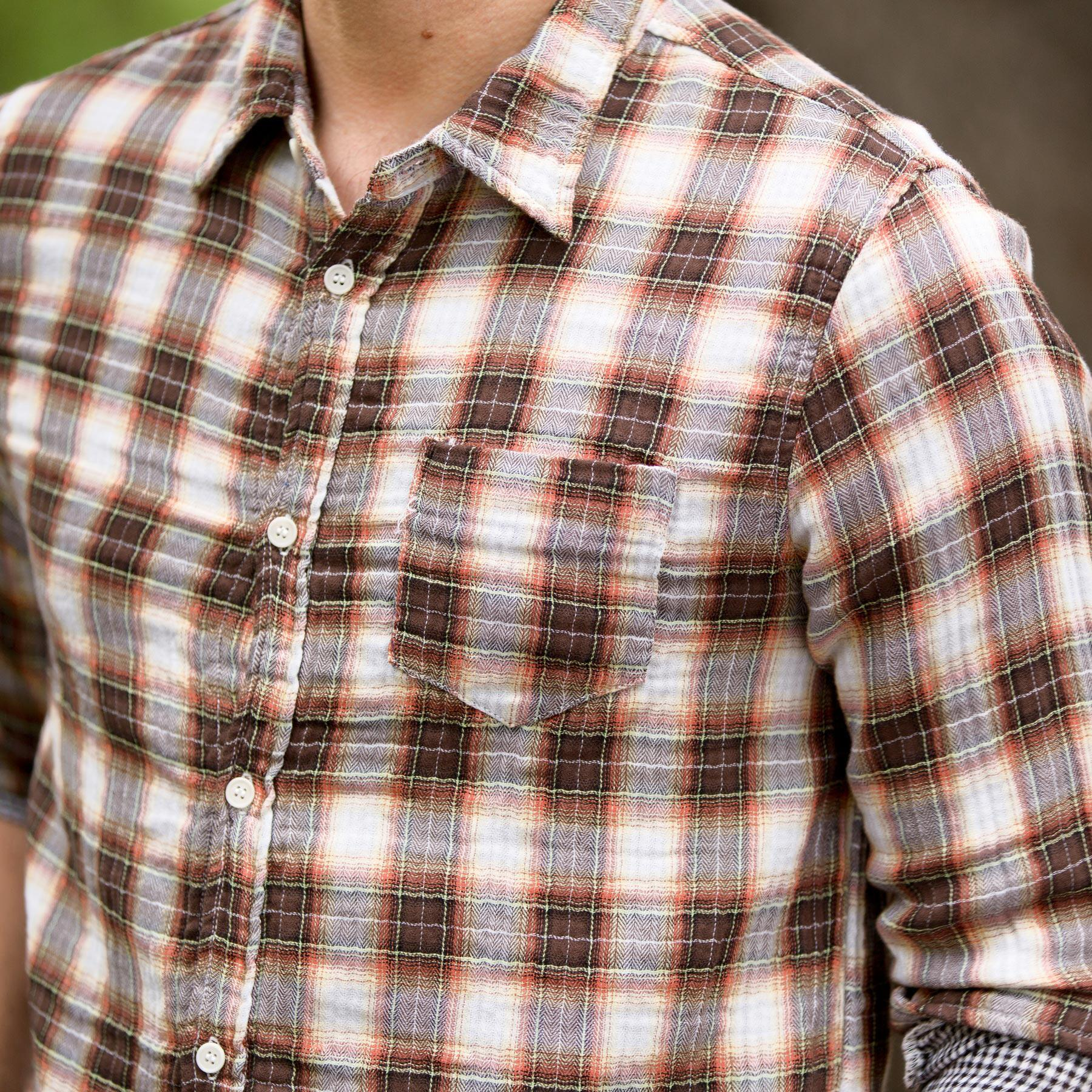 STEPHEN PLAID SHIRT - RUST OR BLUE: View 2