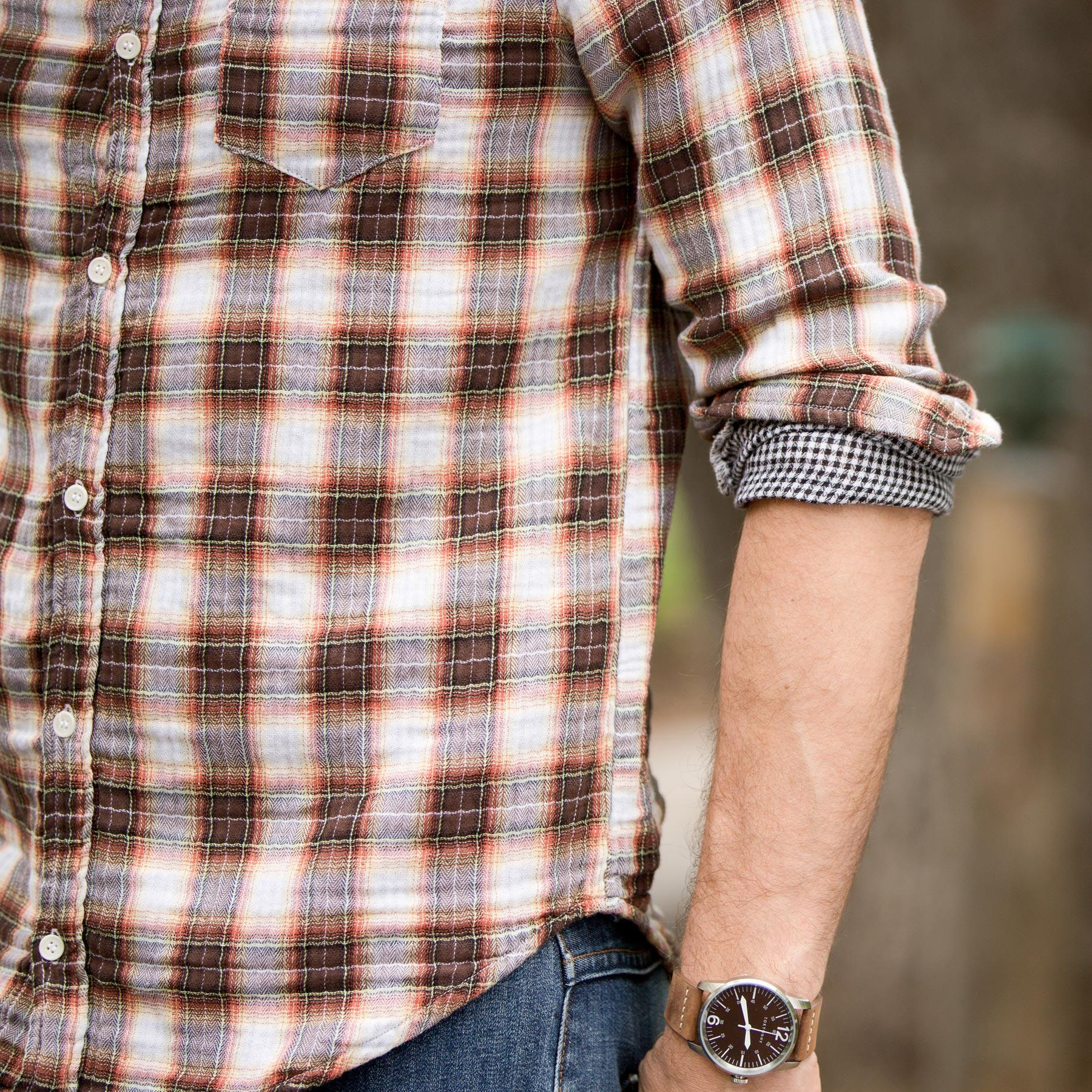 STEPHEN PLAID SHIRT - RUST OR BLUE: View 3