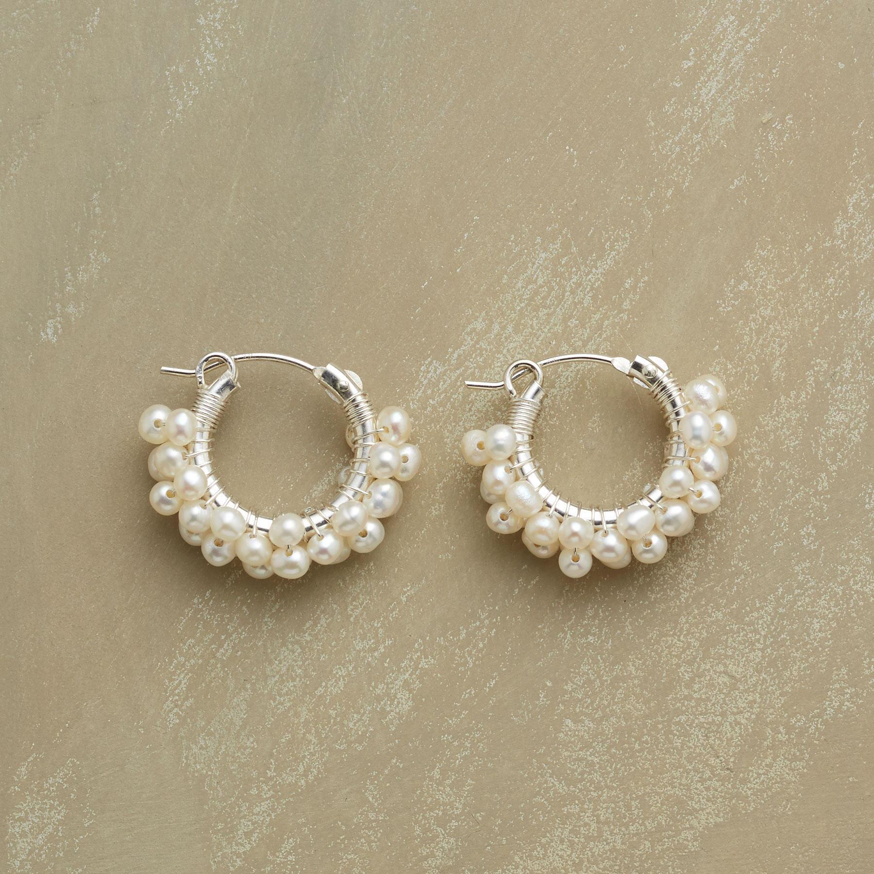 STERLING SILVER FROTH OF PEARLS EARRINGS: View 1