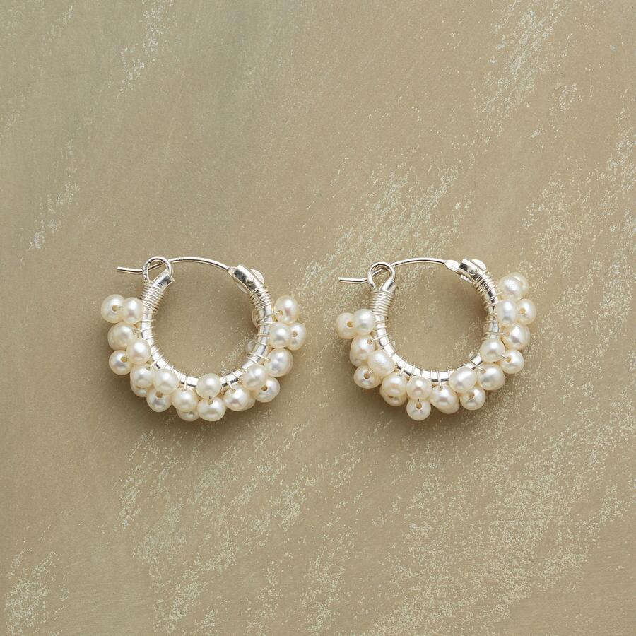 SILVER FROTH OF PEARLS EARRINGS