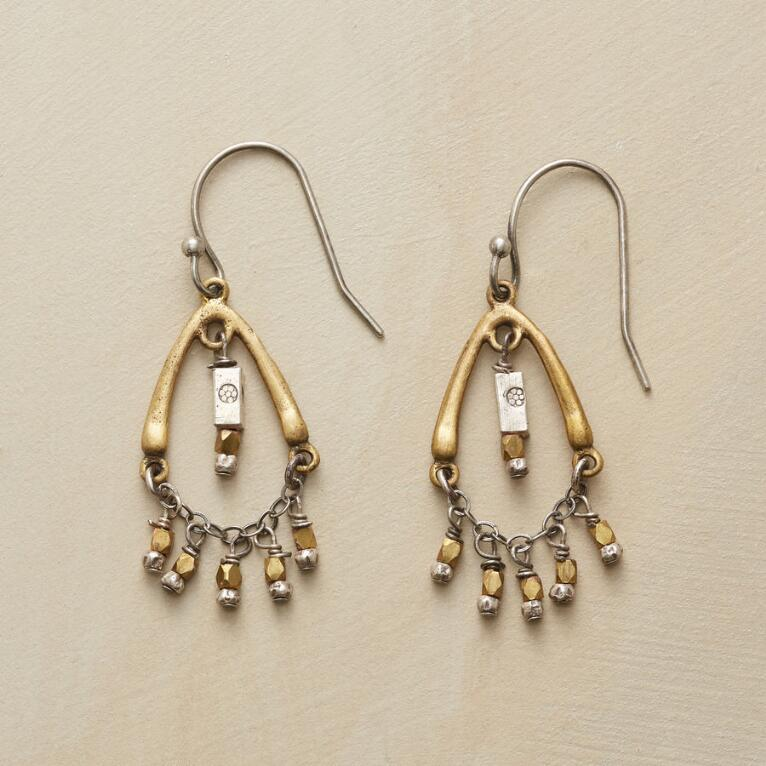 BRASS TRAPEZE EARRINGS