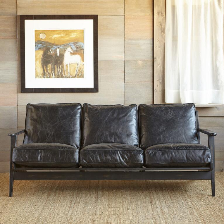 Deep-Seated Black Leather Sofa | Robert Redford\'s Sundance Catalog