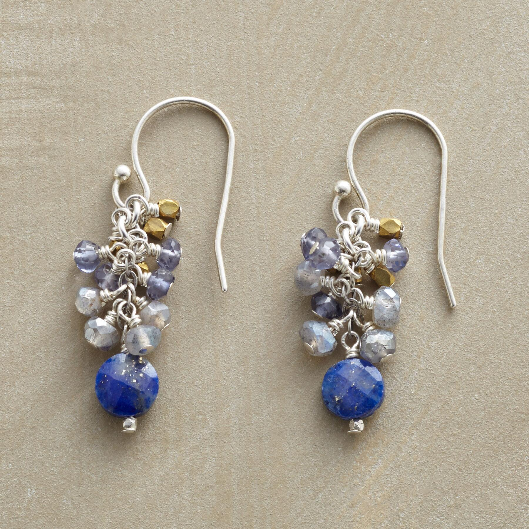 BLUE TINSEL EARRINGS: View 1
