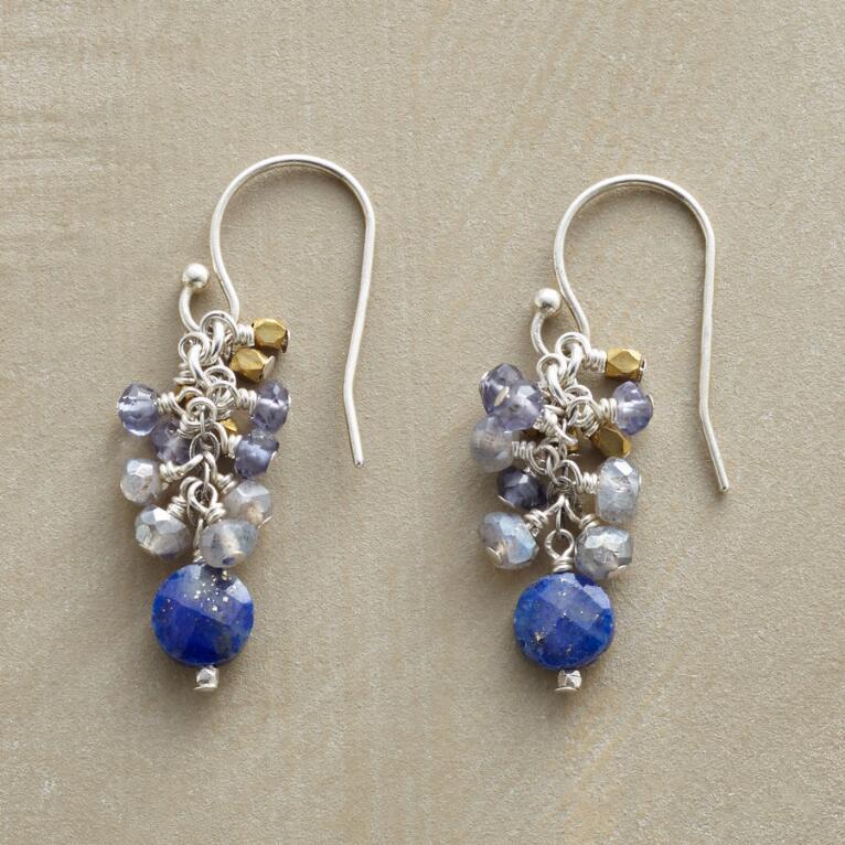 BLUE TINSEL EARRINGS