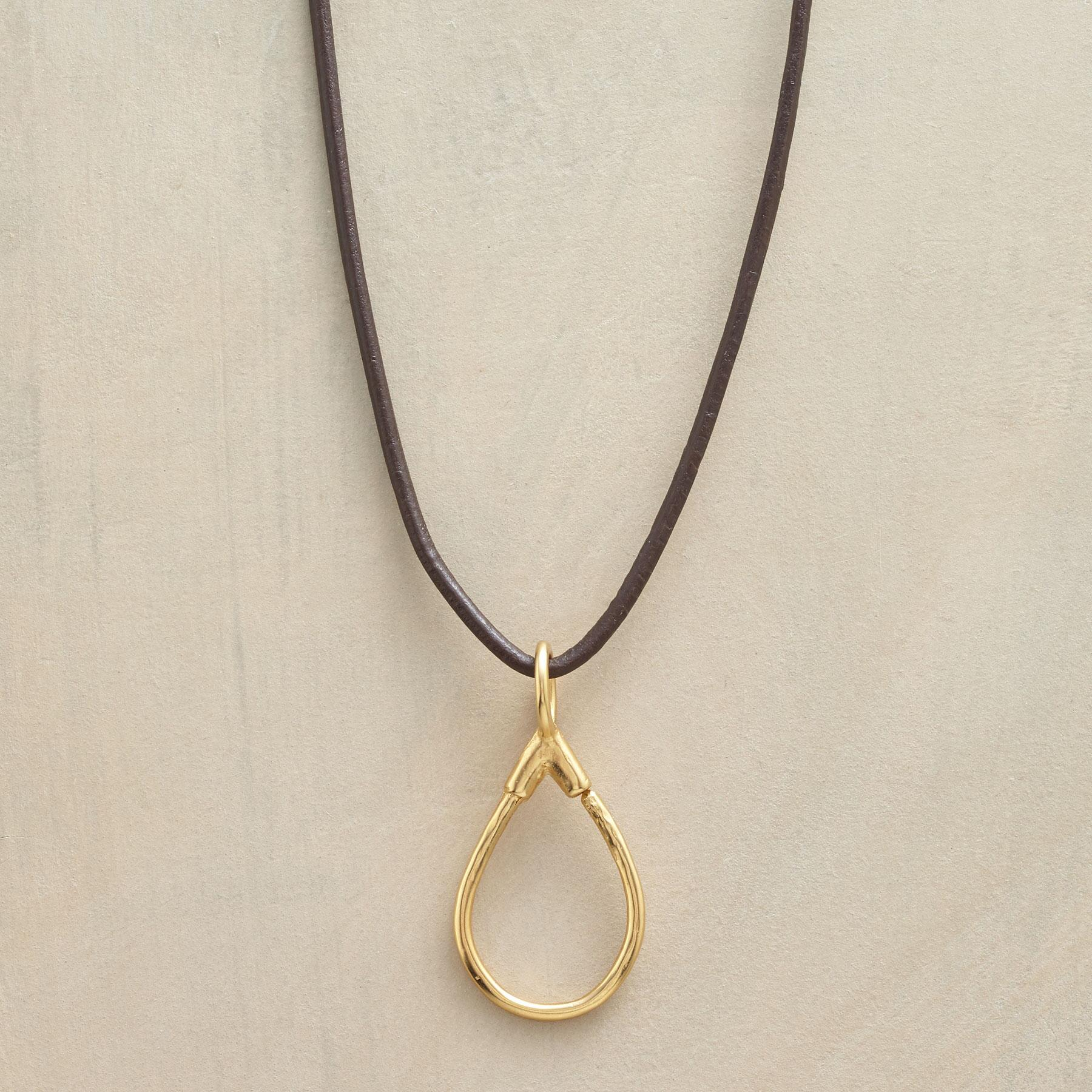 GOLD LEATHER CHARMHOLDER NECKLACE: View 1